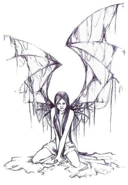 Tatouage temporaire ange accroupi