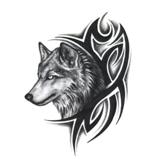 Faux tatouage loup tribal