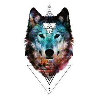 Tatouage temporaire loup geometrique