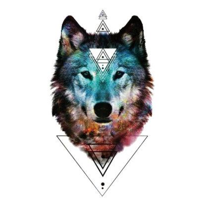Tatouage Temporaire Loup Geometrique Specialement Par Kolawi
