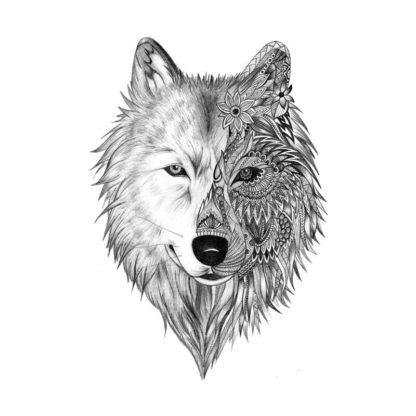 Tatouage ephemere loup demi face tribal