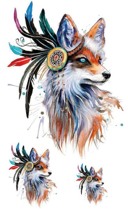 Tattoo renard Incantation indienne