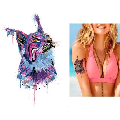 Tatouage provisoire chat lynx violet aquarelle