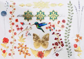 Faux tatouage fleur fine et oiseau