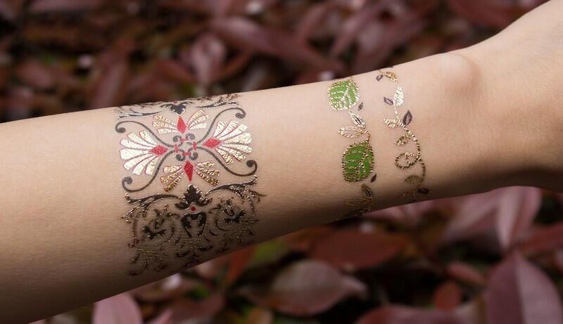 tatouage temporaire bracelet feuille - kolawi