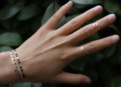 Tatouage ephemere hibou bracelet noir