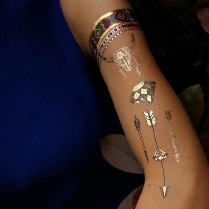 Tatouage ephemere bracelet attrape-reve lune fleche indien