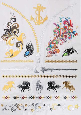 Faux tatouage cheval couleur bracelet lune