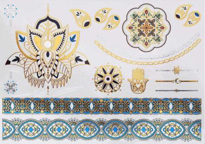 Tatouage temporaire bracelet bleu couronne mandala main fatma
