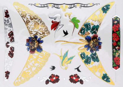 Faux tatouage colliers cou, bracelet rouge oiseau