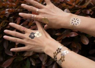 Tattoo bracelet trefle noir et doré