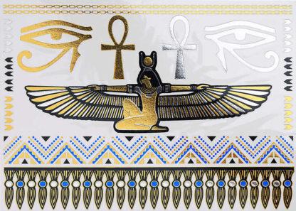 Tatouage temporaire pharaon gande aile et oeil egypte