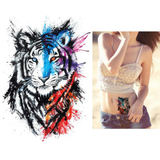 Tatouage artificiel tigre pinceau aquarelle