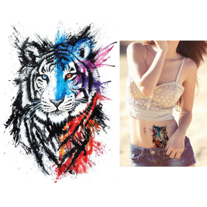 Tatouage artificiel tigre pinceau aquarelle