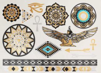 Tatouage temporaire mandala pharaon aile egypte