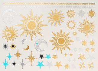 Tatouage ephemere Soleil etoile lune