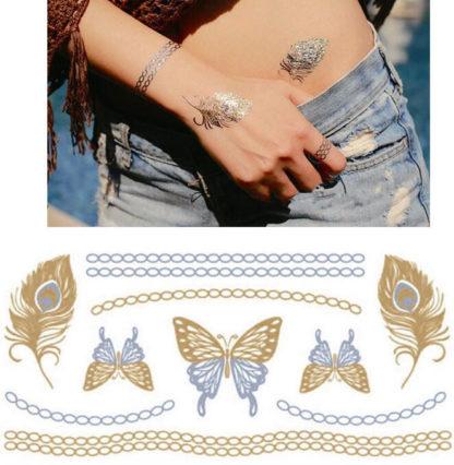 Faux tatouage collier argent plume etoiles filantes
