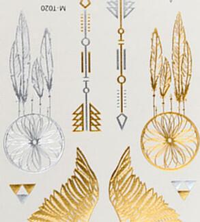 Tatouage ephemere ailes fleches triples attrape-reve
