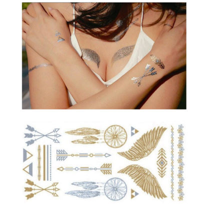 Tatouage ephemere ailes fleches triples attrape-reve