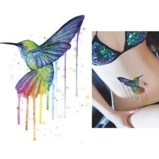 Tatouage provisoire Colibri au pinceau