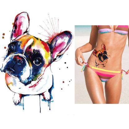 Tatouage provisoire chien mignon aquarelle