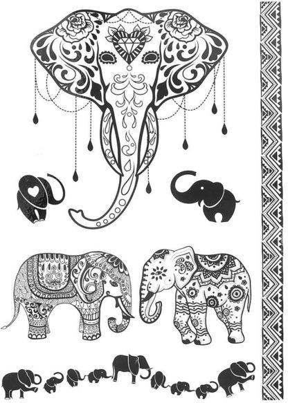 Tatouage temporaire elephant theme