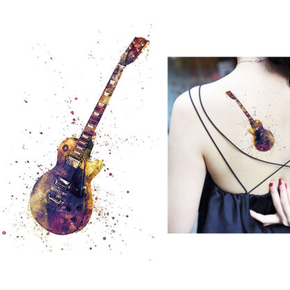 Tatouage artificiel guitare rock aquarelle