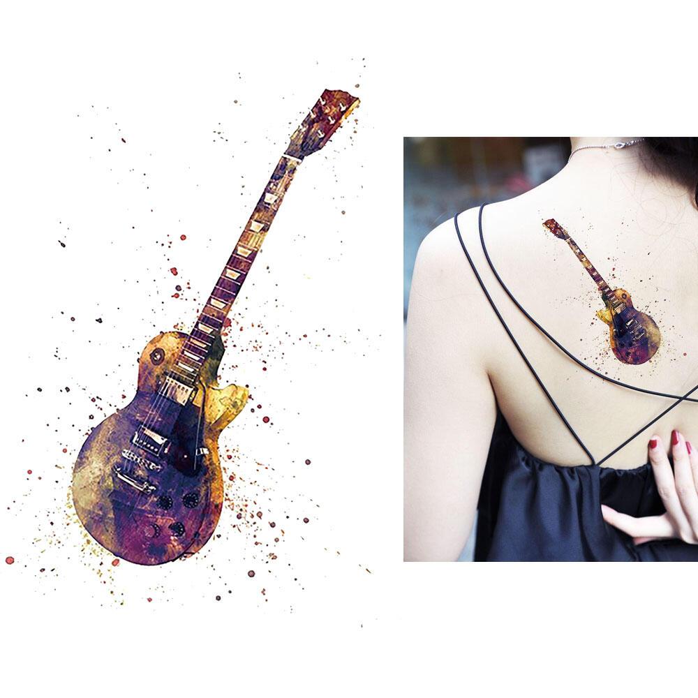 Tatouage Artificiel Guitare Rock Aquarelle By Kolawi