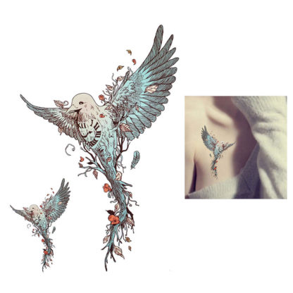 tatouage changeable oiseau time deraciné