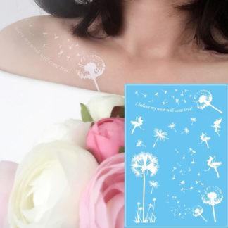 """Faux tatouage fleur pissenlit """"cheveux d ange"""""""
