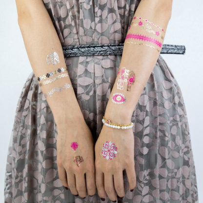Tatouage ephemere theme or et rose