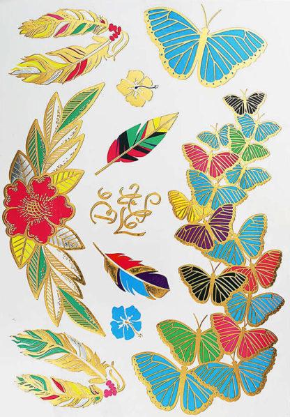 Faux tatouage papillon plume color
