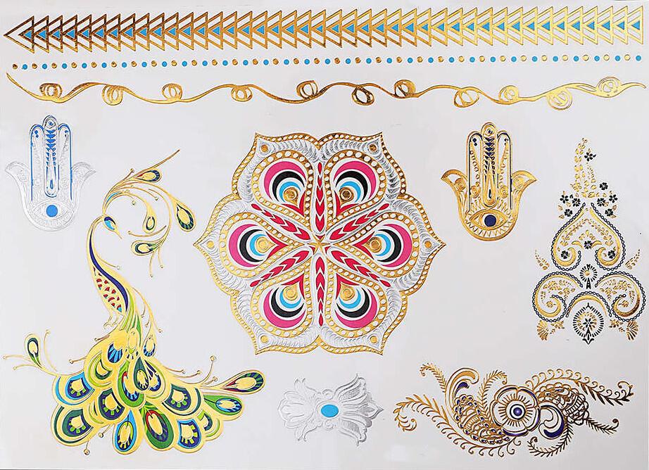 Tattoo Mandala Paon Main Fatma Gold Kolawi