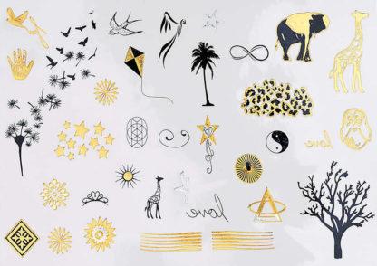 Tatouage temporaire theme afrique noir et or