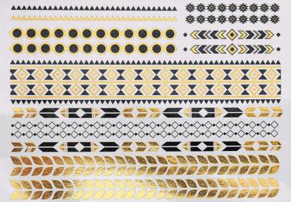 Tatouage ephemere bracelet noir et or