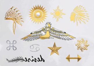 Faux tatouage pharaon indien soleil 69