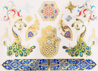 Tatouage temporaire bracelet bleu mandala paon main fatma