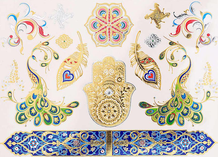 Tatouage Temporaire Bracelet Bleu Mandala Paon Main Fatma Kolawi