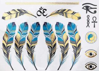 Tatouage ephemere plumes jade or symbole egypte