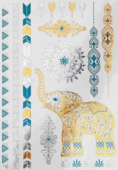 Tatouage temporaire elephant or et vert