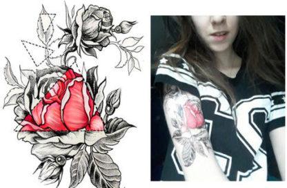 Tatouage temporaire rose et geometrie noire