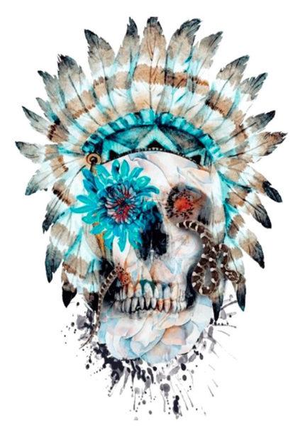 Tattoo tete de mort indien New school