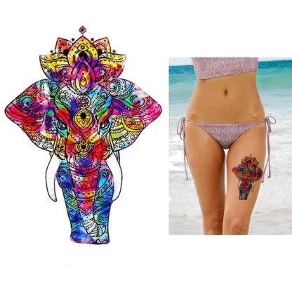 Tatouage temporaire elephant coloré