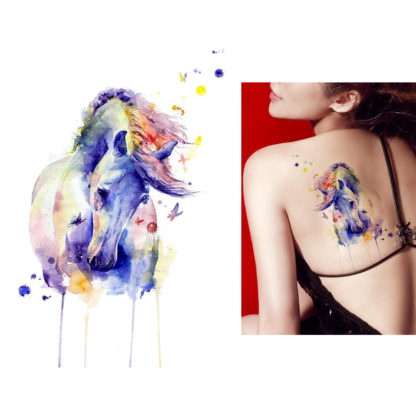 Tatouage ephemere cheval aquarelle
