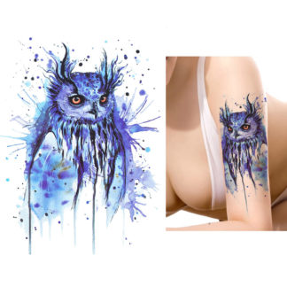 Faux tatouage hibou aquarelle violet