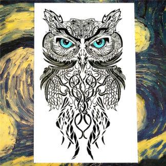 Faux tatouage hibou yeux bleu tribal