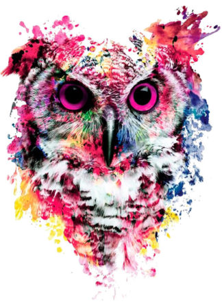 Tattoo hibou yeux roses