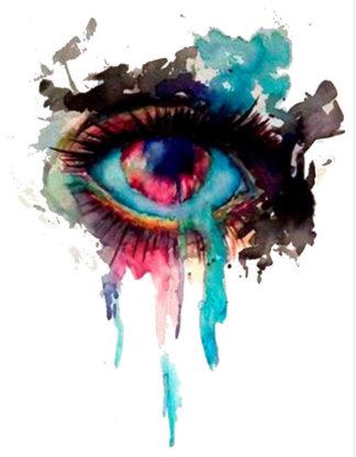 Tatouage ephemere oeil en larme aquarelle