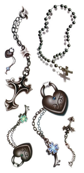 Tattoo porte croix et coeur 3d