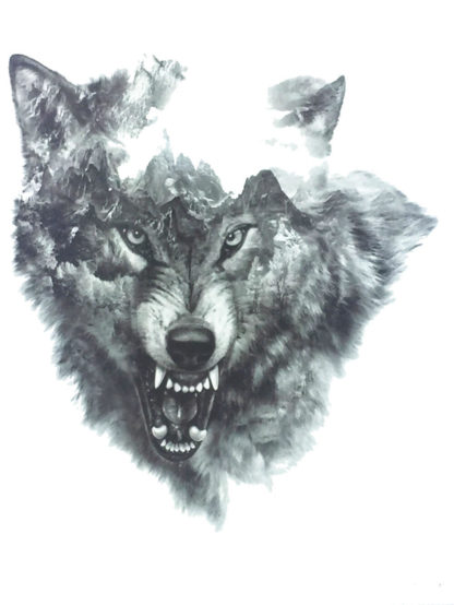 Tatouage temporaire loup tete grogne